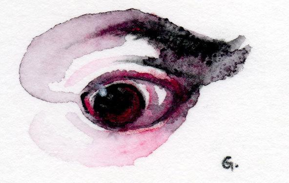 """dessin-aquarelle - """"terreur 01"""" - 2012 - 10cm*10cm - étude pour les """"invisibles"""" - 50€"""